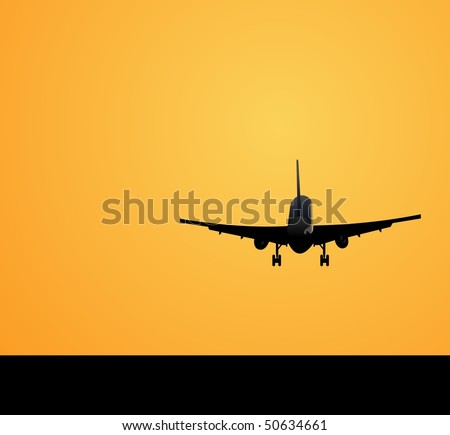 Vector illustration of the plane against a decline - stock vector