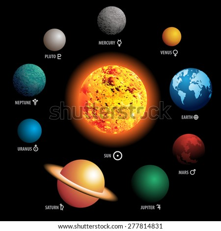 Solar System Isolated On Black Background Stock Vector ...