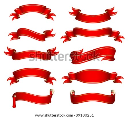Vector illustration of the red ribbons - stock vector