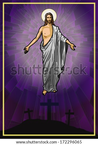 Vector illustration of the Resurrected Jesus Christ. - stock vector