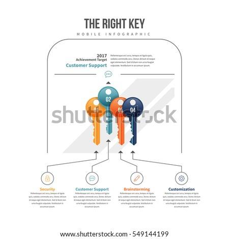 Vector illustration of the right key of keys infographic design element.