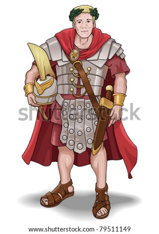 Vector illustration of the roman soldier without background. - stock vector