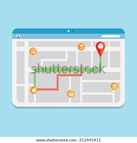vector illustration of the selected route in the road map, in the browser - stock vector