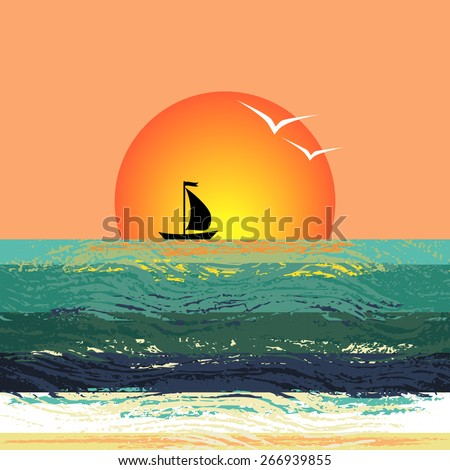 Vector illustration of the ship silhouette on the horizon against the setting sun. Stylized sunset seascape with the sailboat floating on the waves. - stock vector