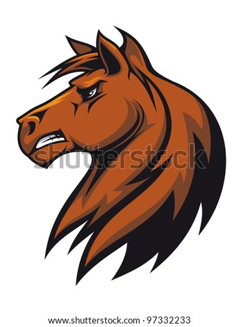 Vector illustration of the side view of a fierce looking brown stallion horse with a flowing mane baring his teeth. Jpeg version also available in gallery - stock vector