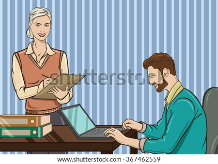 Vector illustration of the situation in the office. Assistant writes the instruction of his boss, who sits behind a work desk - stock vector