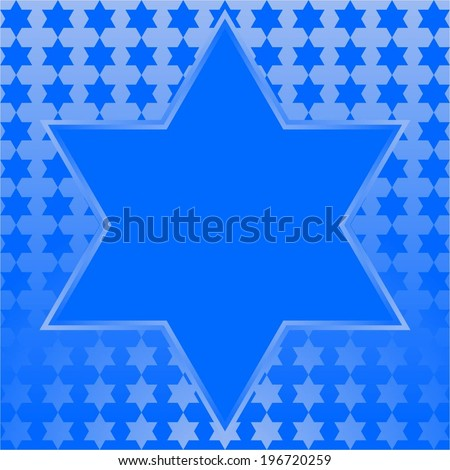 Vector illustration of The six - pointed star on a blue background - stock vector