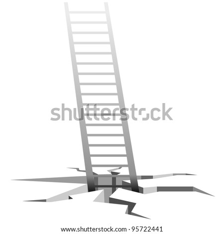 Vector illustration of the stairs coming out of cracks in the ground - stock vector