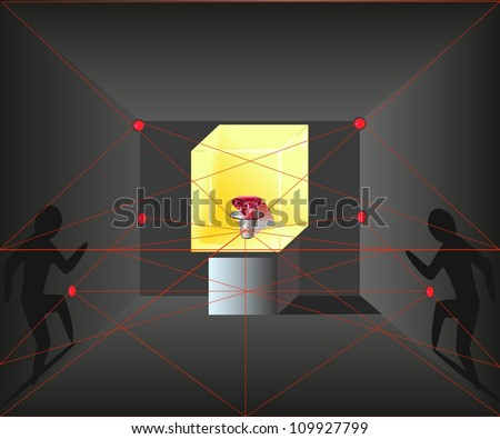 Vector Illustration of the stealing robbers up to the glass case with a red diamond - stock vector