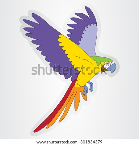 Vector illustration of the sticker with a flying parrot for kids. - stock vector