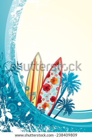 Vector illustration of the summer wave with surfboards, palm trees & grunge splatters. - stock vector