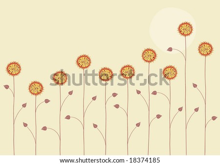 Vector illustration of   the sun is going down over the summer flowers on yellow background - stock vector