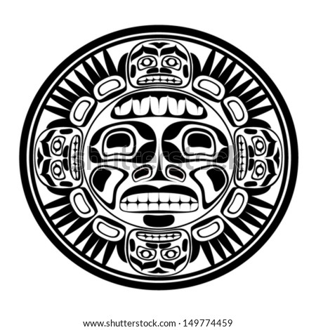 Vector illustration of the sun symbol. Modern stylization of North American and Canadian native art in black and white - stock vector