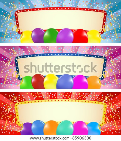 Vector illustration of the three colorful banners with balloons - stock vector