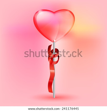 Vector illustration of the transparent heart lollypop on the pink background - stock vector