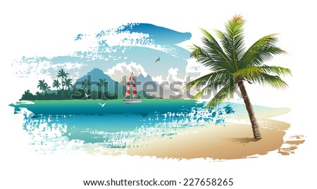 Vector illustration of the tropical beach - stock vector
