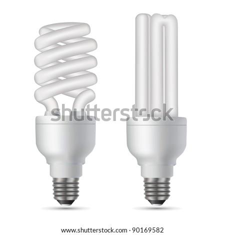 Vector illustration of the two  energy saving light bulbs - stock vector