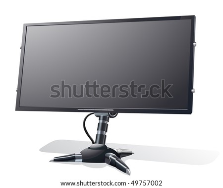 vector illustration of the wide LCD monitor on transformed stand