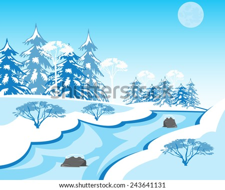 Vector illustration of the winter landscape with stream and wood