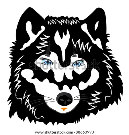 Vector illustration of the wolf on white background is insulated