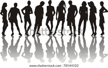 vector illustration of the young group of friends - stock vector