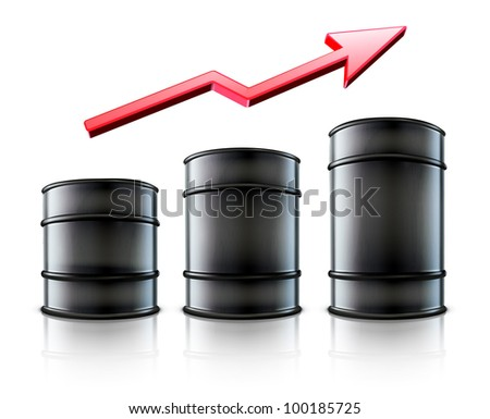 Vector illustration of three black metal oil barrels   with a red arrow showing an increase of gasoline consumption or rise in a cost of oil
