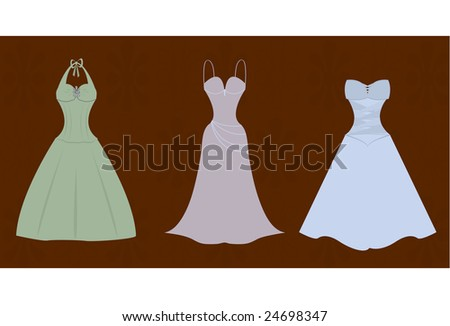 Vector illustration of three bridesmaids gowns.