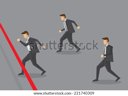 Vector illustration of three businessman running towards finish line. Conceptual design for business competition - stock vector
