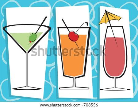 Vector illustration of three contemporary drinks. - stock vector