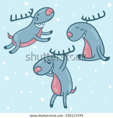 vector illustration of three deer in different poses, Christmas shape, gift, new year, Christmas, 2016, snow - stock vector
