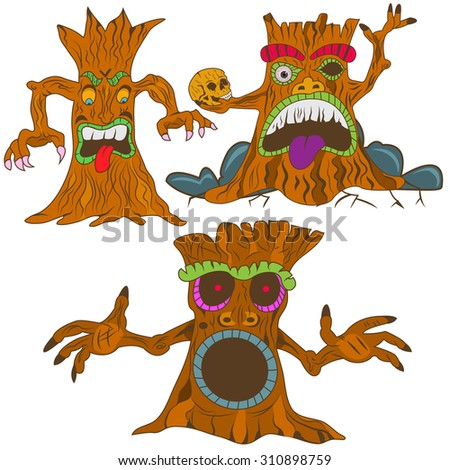 vector illustration of three different cartoon spooky trees  - stock vector