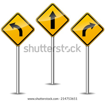 Vector illustration of three directional signs on white background