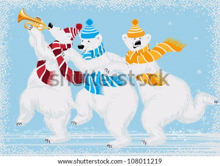 Vector illustration of three funny polar bears in scarves - stock vector