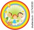 vector illustration of three happy kids holding their hands, flowers and butterflies in a rainbow circle. - stock vector