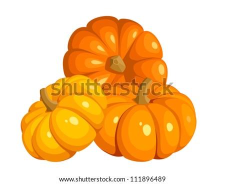 Vector illustration of three orange pumpkins - stock vector