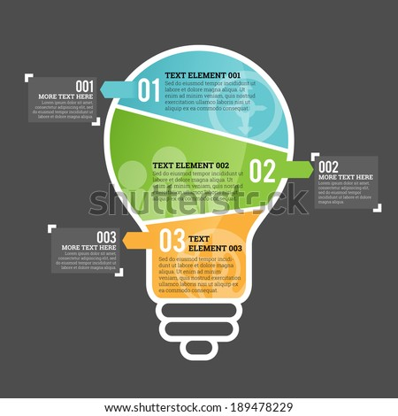 Vector illustration of three part light bulb infographic element. - stock vector