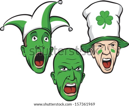 Vector illustration of three st patrick day party guys. Easy-edit layered vector EPS10 file scalable to any size without quality loss. High resolution raster JPG file is included.  - stock vector