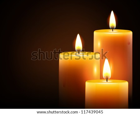 Vector illustration of three yellow candles on dark background - stock vector
