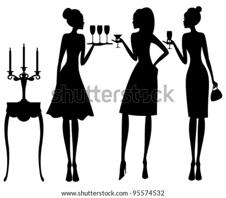Vector illustration of three young elegant women at a cocktail party. Raster version also available. - stock vector