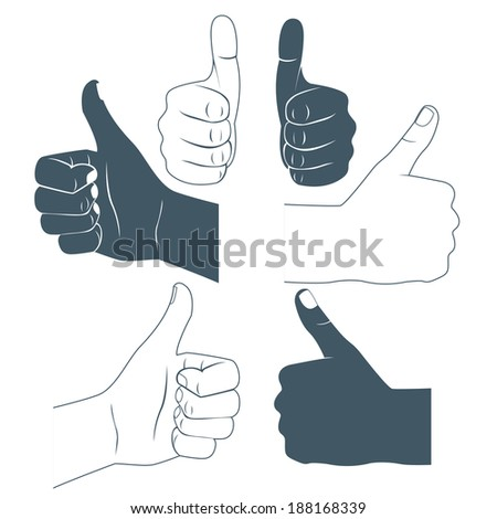 Vector Illustration of  Thumbs up. Drawn by hands icons. Flat style