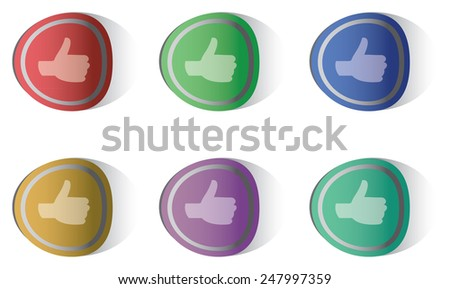 Vector illustration of thumbs-up round stickers in six different colors isolated on white background - stock vector