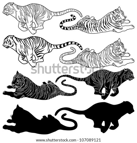 Vector illustration of tiger silhouettes and design set - stock vector