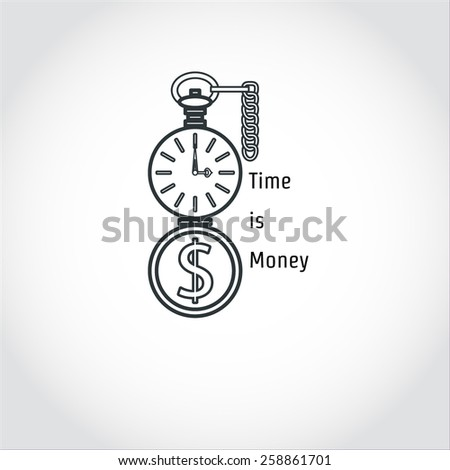 Vector Illustration of Time is Money Concept for Design, Website, Background, Banner. Outline Icon Element Template for Business Infographic with Watch - stock vector