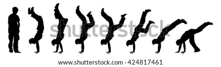 Vector illustration of time-lapse silhouette of a boy doing a gymnastic handstand, isolated against white. - stock vector