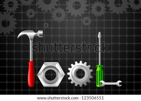 vector illustration of Tool word formed by Hammer and screwdriver - stock vector