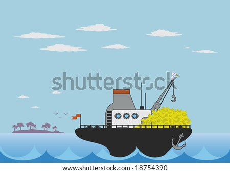 vector illustration of toy cargo ship in the sea - stock vector