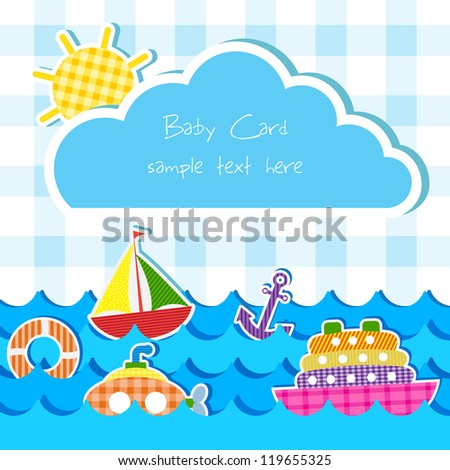 vector illustration of toy of different water transportation  in baby announcement card - stock vector