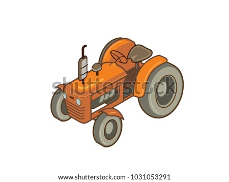 Vector illustration of Tractor, farm work. Old Fashioned orange tractor. Can resize the image