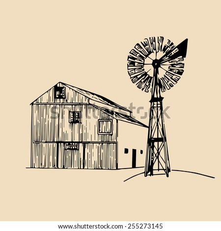 Vector illustration of traditional american farm with windmill in hand sketched style - stock vector