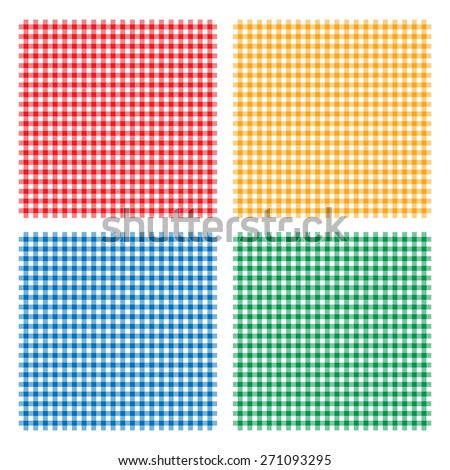 Vector illustration of traditional gingham background with fabric texture. Checkered picnic cooking tablecloth seamless pattern. Four dining cloth of different colors - stock vector